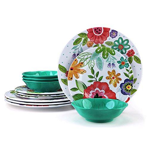 12 Pcs Melamine Dinner Dishes Set - Yinshine Unbreakable Modern Dinnerware Set, Service for 4