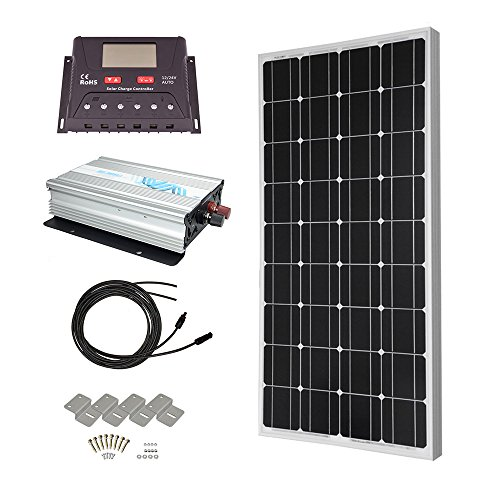 HQST Solar Panel Power Kit 100Watt 100W Monocrystalline Solar Panel with 30A controller and 1000W 12V Sine Wave Inverter RV Boat Off Grid Kit HQST Solar Power And Accessories