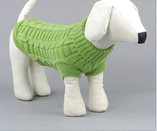 Evursua Turtleneck Pet Cats Sweater Aran Pullover Knitted Doggie Kitty Clothes Solid Colors for Kitten Chihuahua Pug (Green, M)