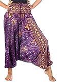 Lofbaz Women's Peacock Print 2 in 1 Harem Pants Jumpsuit Purple & Gold S