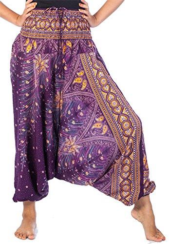 Lofbaz Women's Peacock Print 2 in 1 Harem Pants Jumpsuit Purple & Gold S]()