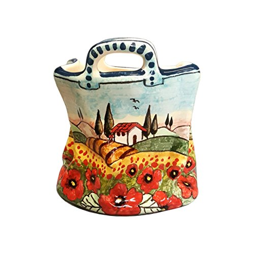 CERAMICHE D'ARTE PARRINI - Italian Ceramic Art Pottery Small Bag Pencil Holder Hand Painted Decorated Poppies Landscape Made in ITALY Tuscan (Small Ceramic Painted Hand)