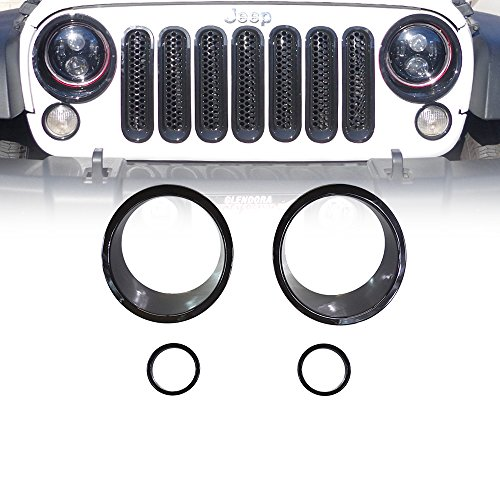 Xprite Black Front Bezel Cover For Headlight and Turn Signal Light 2007 - 2017 Jeep Wrangler JK & JK Unlimited (4-Piece Set)