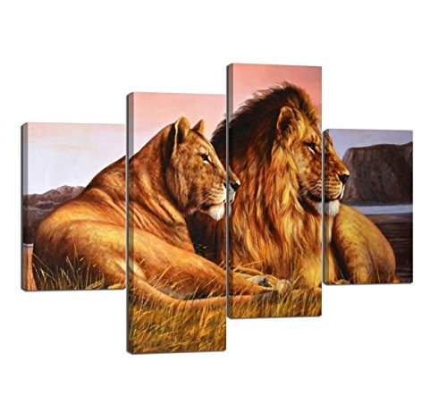 4 Panels Modern Lion Art for Wall Lioness and Lion on The Prairie Picture Prints on Canvas Giclee Artwork Gallery-Wrapped Prints and Posters Stretched Ready to Hang for Home Decor - 48''W x 36''H