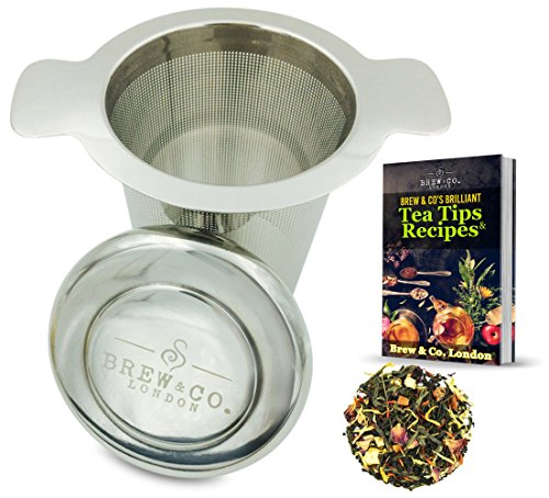 Brew & Co. London Stainless Steel Tea Infuser with Drip Tray Coaster Lid, Extra Fine Mesh Multi Cup Strainer and EBook