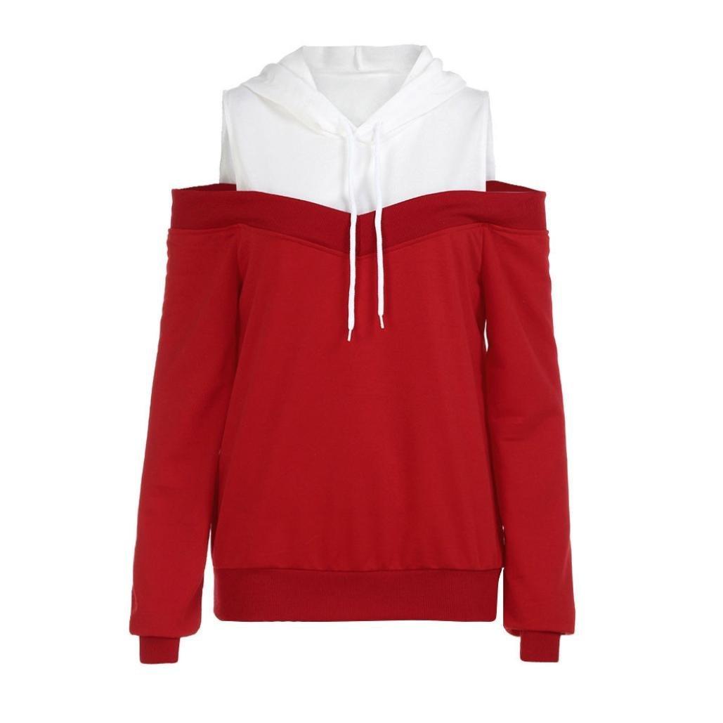 Womens Hooded, Off Shoulder Long Sleeve Hoodie Sweatshirt Hooded Pullover Tops WuyiMC