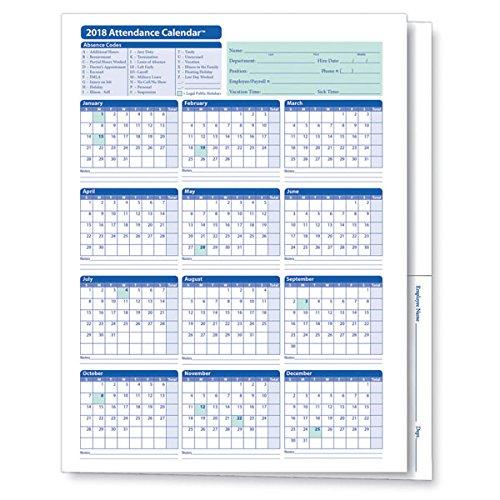 25 Pack Calendar (ComplyRight 2018 Attendance Calendar Folder, Pack of 25)