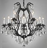 Cheap Wrought Iron Crystal Chandelier Lighting Chandeliers H30 x W28