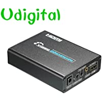 Udigital 3RCA/AV/CVBS Composite & S-Video R/L Audio to HDMI Converter Adapter Upscaler Support 720P/1080P with 3RCA S-Video Cable for DVD/VCR/PS2/PS3/Xbox/HDTV Black