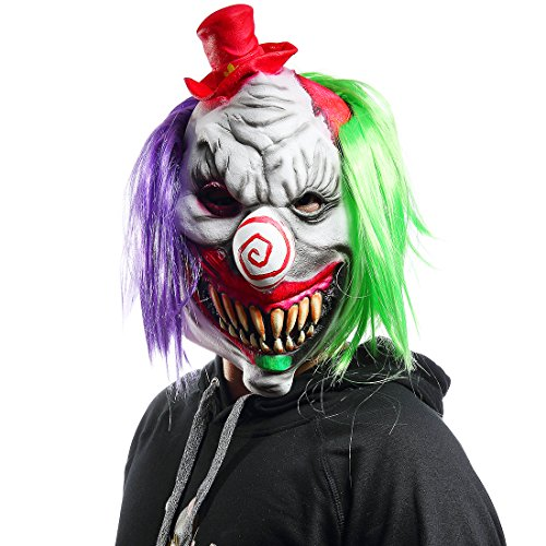 Halloween Horrific Demon Adult Scary Clown Masks Cosplay Props(Red hat -