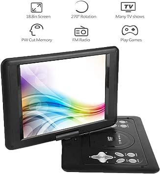 Reproductor de DVD portátil de 13 Pulgadas con rotación de 270°, Cientos de Cables para TV/TV inalámbrica DVD Reproductor de CD, Juegos de reproducción, Memoria de Corte PW: Amazon.es: Electrónica