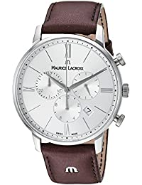 Men's 'Eliros' Quartz Stainless Steel and Leather Casual Watch, Color:Brown (Model: EL1098-SS001-110-1)