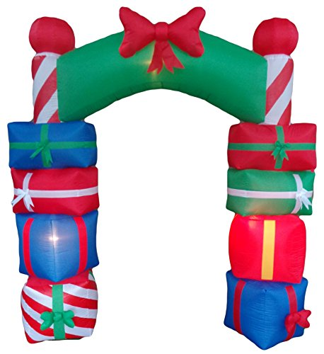8 Foot Tall Lighted Christmas Inflatable Stacked Colorful Gift Boxes Archway with Red Bow Party Yard -