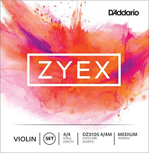 (D'Addario Zyex Violin String Set with Silver D, 4/4 Scale, Medium Tension)