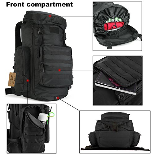 ArcEnCiel 70-85L Large Capacity Tactical Travel Backpack MOLLE Rucksack Outdoor Travel Bag for Travelling Trekking Camping Hiking Hunting -Rain Cover Included (Black) by ArcEnCiel (Image #1)