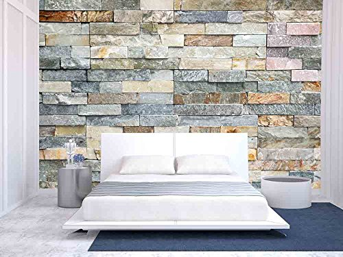 wall26 - Decorative Tiles Made from Natural Granite Stone - Removable Wall Mural | Self-adhesive Large Wallpaper - 100x144 inches - Decorative Wall Murals