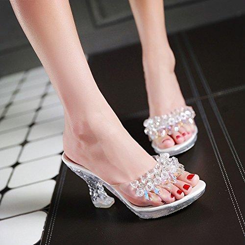 ALBBG Clear High Heels Platform Crystal Sandals Sparkling Diamonds Summer Gold Black For Women's Shoes Girl's (B(M) US8/EU39/UK6/CN39 Medium, - Wild Thing Glasses