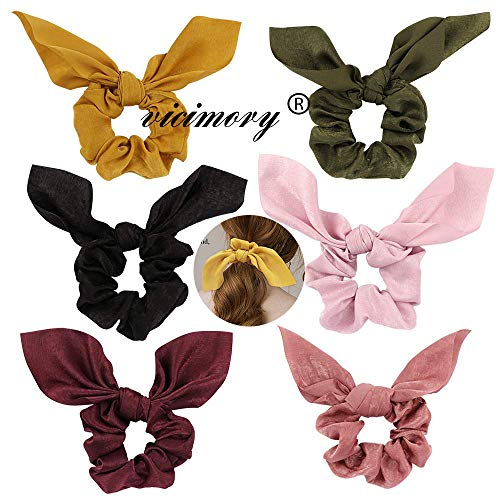 Vicimory 6 Pack Hair Scrunchies Elastics Chiffon Hair ties Hair Bow Chiffon Ponytail Holder Bobbles Soft Elegant Bow Scrunchies for Women Hair Ties, 6 Colors Scrunchies