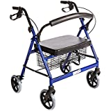 Bariatric Rollator Walker Heavy Duty with Large Padded Seat up to 400 Lb Capacity (BLUE) By Healthline Trading