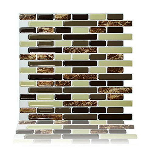 "Peel and Stick 10""x10"" Self Adhesive 3D Wall Tile, Pack of 4"