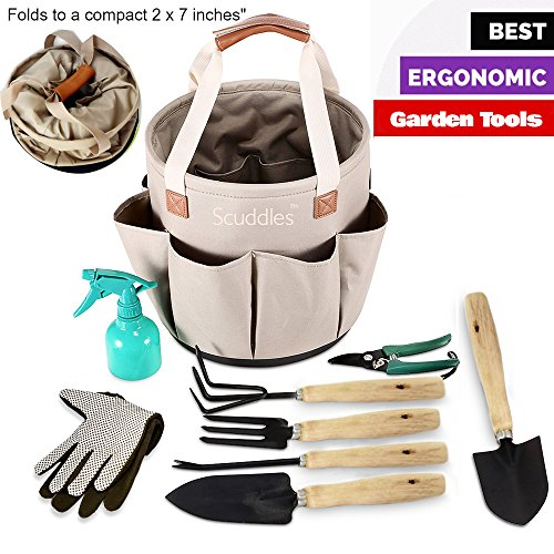 Scuddles - Garden Tools Set - 8 Piece Gardening tools With Storage Organizer, Ergonomic Hand Digging Weeder, Rake, Shovel, Trowel, Sprayer, Gloves Gift for Man & Women SC-GB-01