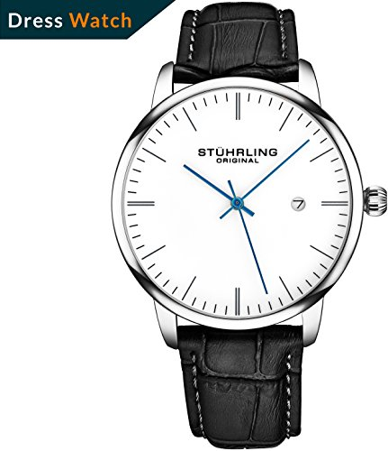 Stuhrling Original Mens Watch Black Leather Strap - Dress + Casual Design - White Analog Watch Dial with Date, 3997Z Watches for Men Collection (Casual Strap Mens Watch)