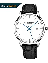 Mens Watch Black Leather Strap - Dress + Casual Design - White Analog Watch Dial with Date, 3997Z Watches for...