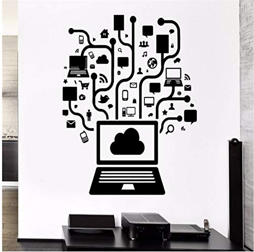 LSFHB Computer Vinyl Wall Decal Computer Online Social Network Gamer Internet Teen Pc Mural Wall Sticker Office Room Home Decoration -