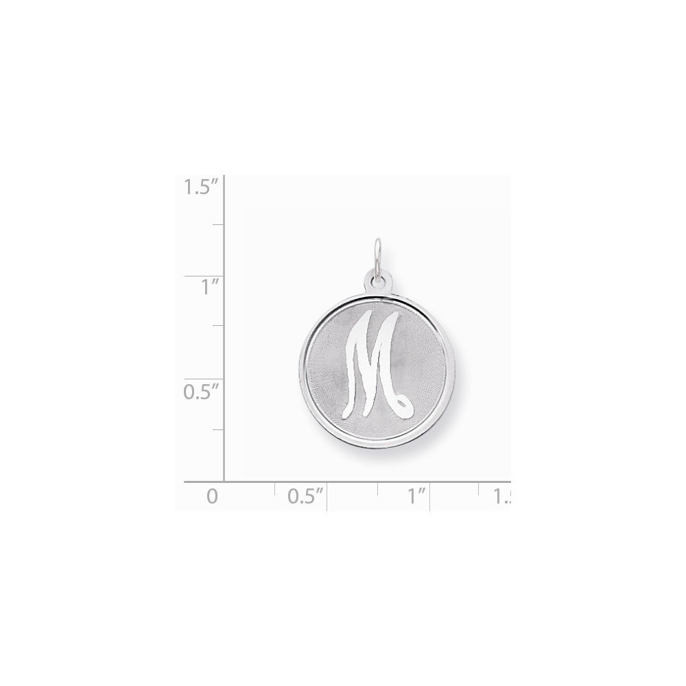 Mireval Sterling Silver Brocaded Initial M Charm on a Sterling Silver Carded Box Chain Necklace 18