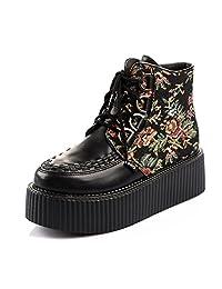 RoseG Women's Handmade High Top Goth Punk Flats Platform Creeper Shoe