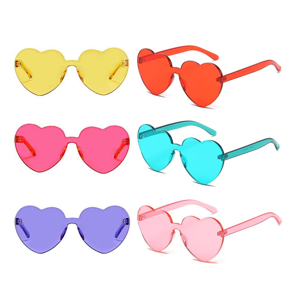 6 Packs Heart Transparent Multicolor Party Favors Big Rimless Sunglasses for Women (Mix)