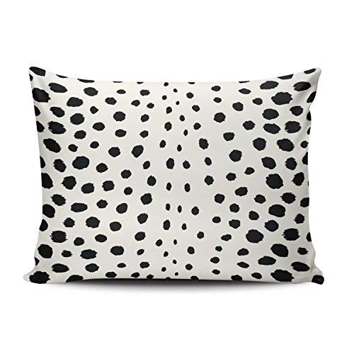 Fanaing Bedroom Custom Decor Chic Black White Cheetah Print Pattern Pillowcase Soft Zippered Throw Pillow Cover Cushion Case Fashion Design One-Side Printed Standard 16x24 Inches
