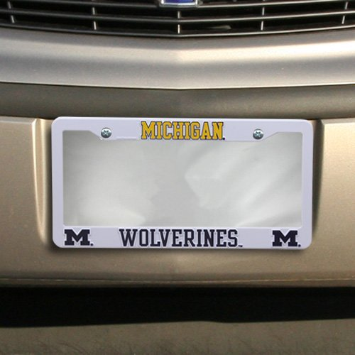 NCAA Michigan Wolverines Plastic License Plate Frame - White by Tag Express