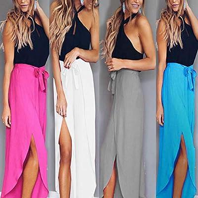 Gloa Women Summer Casual Solid Color Split Beach Long Skirt Elastic Waist Belt Dress - White S