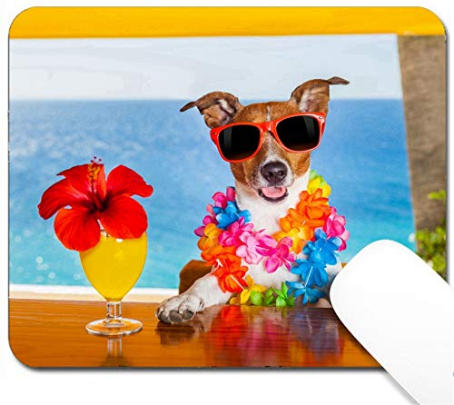 MSD Mouse Pad with Design - Non-Slip Gaming Mouse Pad - Image ID 32315960 Funny Cool Dog Drinking Cocktails at The bar in a Beach Club Party wi