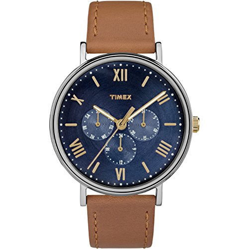 Timex Unisex TW2R29100 Southview 41 Multifunction Tan/Blue Leather Strap Watch