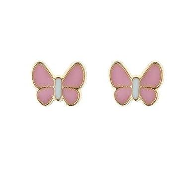 9ct gold enamel pink butterfly stud earrings. Gift box hgOiMZXruk