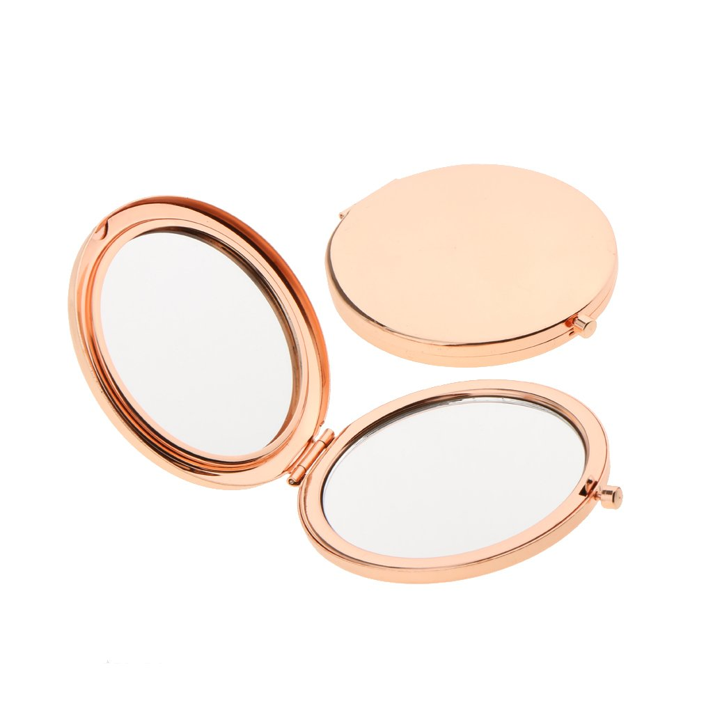 Baosity 2pcs Fashion Travel Folding Dual Sided Makeup Mirror Round Compact Pocket Size Rose Gold