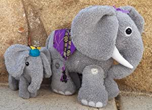 Cloth Mother & Baby Elephant Stuffed Toy Pattern with Instruction CD/177/Made from Faux Elephant Fabric or Terry Cloth/Button Joined Legs