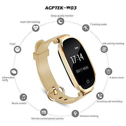 Pulsera Actividad Inteligente Mujer, AGPTEK SW03 Reloj Deportivo Impermeable con Bluetooth Podómetro Sedentarios, Monitor Ritmo Cardíaco Sueño para ...