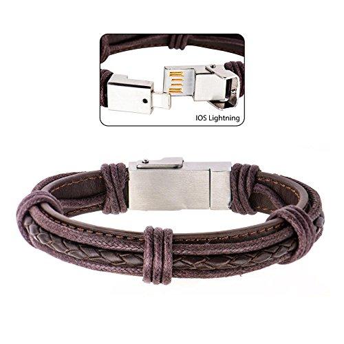 Men's Genuine Brown Leather USB Bracelet (IOS)