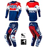 O'Neal Element Warhawk Blue/Red Adult motocross MX off-road dirt bike Jersey Pants combo riding gear set (Pants W38 / Jersey X-Large)