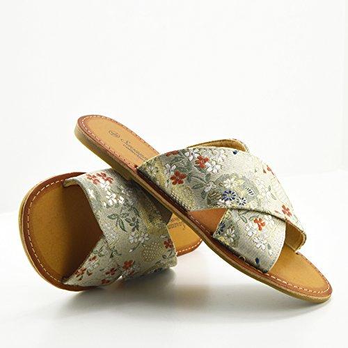 Kick Footwear Damen Zehentrenner Floral Print Beige