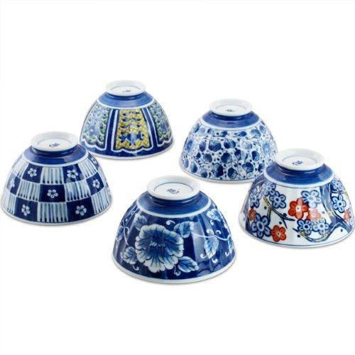 Ciotola di porcellana cambia colore xilografia assortimento tinti (ciotola di riso set di 5) (Giappone import / Il pacchetto e il manuale sono scritti in giapponese) ama-762973