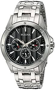 Bulova Classic Men's 96C107 Quartz Day/Date Black Dial Silver-Tone Bracelet 43mm Watch (Certified Refurbished)