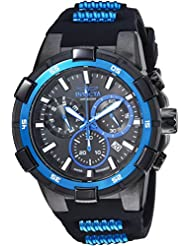 Invicta Mens Aviator Quartz Stainless Steel and Silicone Casual Watch, Color:Black (Model: 25859)