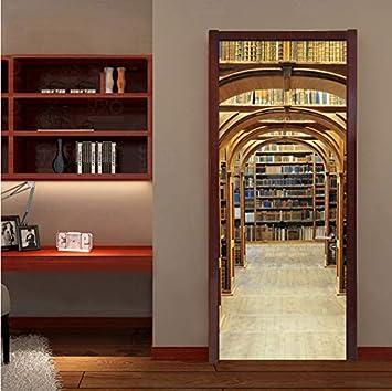 Libby Nice Autocollant De Porte Moderne Bibliothèque Créative Salle Du0027Étude  Bibliothèque Papier Peint