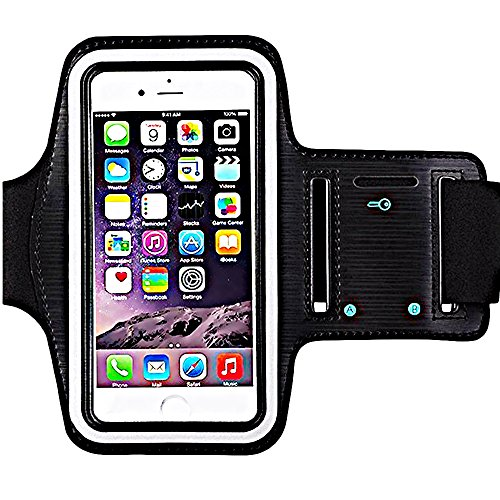 [1 Pack]Premium Water Resistant Sports Armband with Key Holder for iPhone 8 Plus iPhone 7 Plus iPhone 6/6S Plus iPhone 8/7/6S S9 S8 S7 S7 Edge Bundle with Screen Protector Full Access to Touch Screen Free Adidas Towel