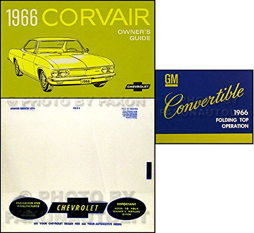 (1966 CORVAIR CONVERTIBLE OWNERS INSTRUCTION & OPERATING SET OF MANUALS & PROTECTIVE ENVELOPE - Both Corsa and Monza)