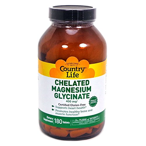 Country Life - Chelated Magnesium Glycinate, 400 mg - 180 (Magnesium Malate 180 Tablets)